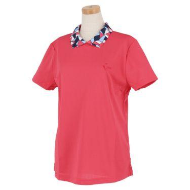 ビバハート VIVA HEART レディース 衿モザイク柄 半袖 バックボタン ポロシャツ 012-22441 2020年モデル ピンク(74)