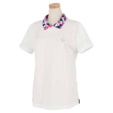 ビバハート VIVA HEART レディース 衿モザイク柄 半袖 バックボタン ポロシャツ 012-22441 2020年モデル ホワイト(05)
