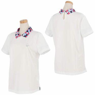 ビバハート VIVA HEART レディース 衿モザイク柄 半袖 バックボタン ポロシャツ 012-22441 2020年モデル 詳細3