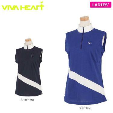 ビバハート VIVA HEART レディース バイカラー ノースリーブ ハーフジップシャツ 012-22571 2020年モデル 詳細1