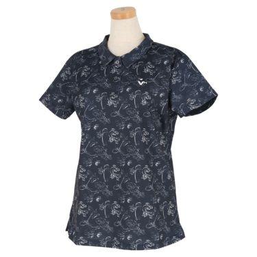 ビバハート VIVA HEART レディース トムとジェリー コラボ 総柄 半袖 ポロシャツ 015-22442 2020年モデル ネイビー(98)