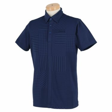 スリクソン SRIXON メンズ パッチワーク柄 半袖 ボタンダウン ポロシャツ RGMPJA13 2020年モデル ネイビー(NV00)