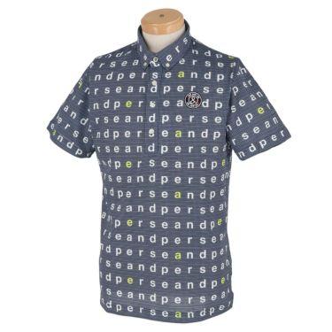 アンパスィ and per se メンズ 総柄プリント ハニカムメッシュ 半袖 ボタンダウン ポロシャツ AMS9611Y1 2021年モデル ネイビー(30)