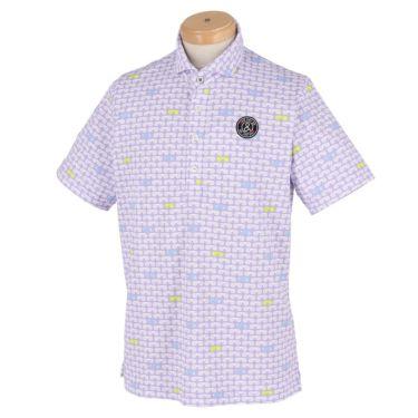 アンパスィ and per se メンズ 鹿の子 総柄プリント 半袖 ホリゾンタルカラー ポロシャツ AMS9611X2 2021年モデル パープル(83)