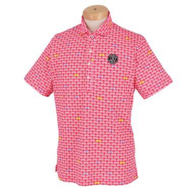 アンパスィ and per se メンズ 鹿の子 総柄プリント 半袖 ホリゾンタルカラー ポロシャツ AMS9611X2 2021年モデル ピンク(43)