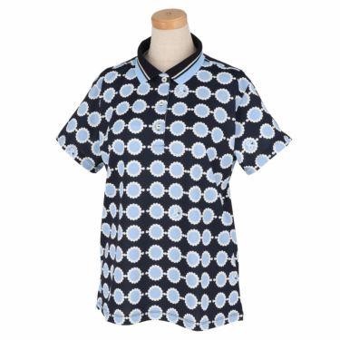 アンパスィ and per se レディース 鹿の子 総柄プリント 半袖 ポロシャツ AFS9711Q1 2021年モデル ネイビー(30)