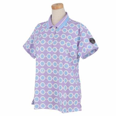 アンパスィ and per se レディース 鹿の子 総柄プリント 半袖 ポロシャツ AFS9711Q1 2021年モデル パープル(83)
