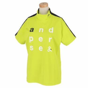 アンパスィ and per se レディース ロゴプリント 袖ライン 半袖 モックネックシャツ AFS9501V2 2021年モデル ライム(63)