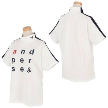 アンパスィ and per se レディース ロゴプリント 袖ライン 半袖 モックネックシャツ AFS9501V2 2021年モデル 詳細3