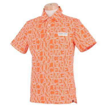 【ssプロパー】△ニューバランス メンズ METRO 鹿の子 タイポグラフィ柄 半袖 ポロシャツ 012-1168008 ゴルフウェア [2021年春夏モデル] オレンジ(150)