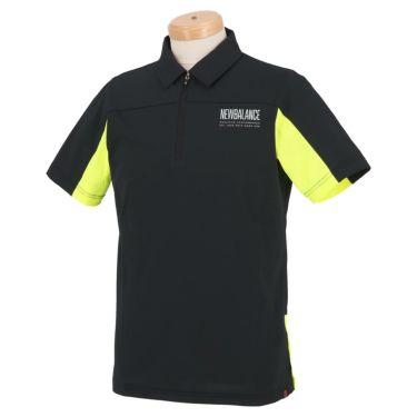 ニューバランスゴルフ メンズ SPORT メッシュ 生地切替 バイカラー 半袖 ハーフジップ ポロシャツ 012-1168012 2021年モデル ブラック(010)