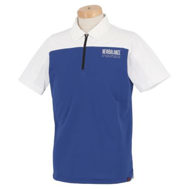 ニューバランスゴルフ メンズ SPORT メッシュ 生地切替 バイカラー 半袖 ハーフジップ ポロシャツ 012-1168012 2021年モデル ブルー(113)