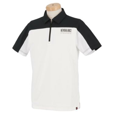 ニューバランスゴルフ メンズ SPORT メッシュ 生地切替 バイカラー 半袖 ハーフジップ ポロシャツ 012-1168012 2021年モデル ホワイト(030)