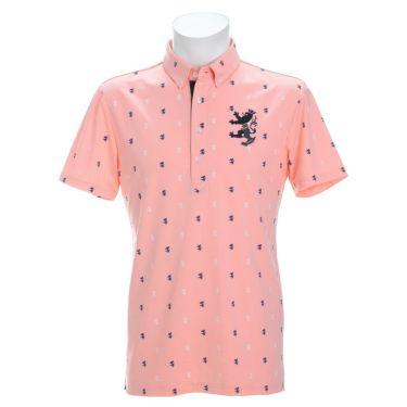 アドミラル Admiral メンズ ランパント刺繍 飛び柄プリント 半袖 ボタンダウン ポロシャツ ADMA135 2021年モデル ピンク(48)