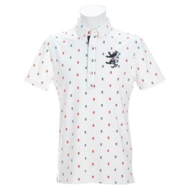アドミラル Admiral メンズ ランパント刺繍 飛び柄プリント 半袖 ボタンダウン ポロシャツ ADMA135 2021年モデル ホワイト(00)