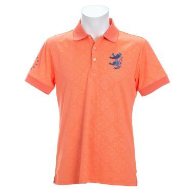 アドミラル Admiral メンズ ランパント刺繍 総柄 エンボスプリント 半袖 ポロシャツ ADMA147 2021年モデル オレンジ(46)