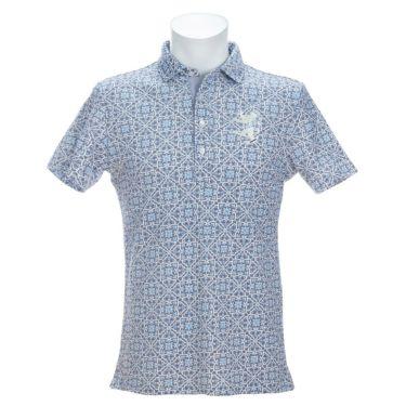 アドミラル Admiral メンズ ランパント刺繍 総柄 タイルプリント 半袖 ポロシャツ ADMA151 2021年モデル ネイビー(30)