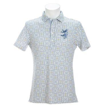アドミラル Admiral メンズ ランパント刺繍 総柄 タイルプリント 半袖 ポロシャツ ADMA151 2021年モデル ホワイト(00)