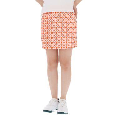 アドミラル Admiral レディース 総柄 タイルプリント ストレッチ ペチパンツ付き スカート ADLA152 2021年モデル オレンジ(46)