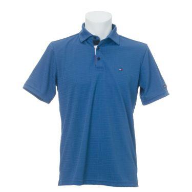 トミー ヒルフィガー ゴルフ メンズ ロゴ刺繍 総柄 ジャガード 半袖 ポロシャツ THMA105 2021年モデル ブルー(34)