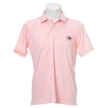 トミー ヒルフィガー ゴルフ メンズ 総柄 ジャガード ロゴ刺繍 半袖 ポロシャツ THMA136 2021年モデル ピンク(48)