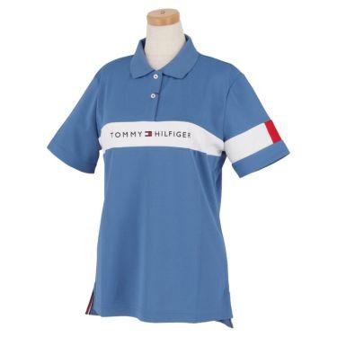 トミー ヒルフィガー ゴルフ レディース 鹿の子 ロゴ刺繍 配色切替 半袖 ポロシャツ THLA105 2021年モデル ブルー(34)