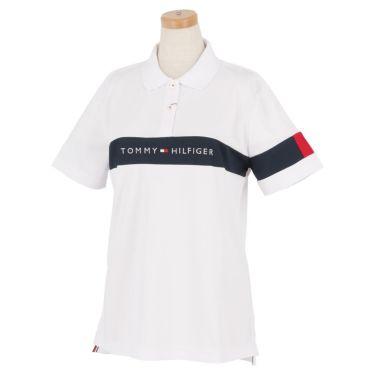 トミー ヒルフィガー ゴルフ レディース 鹿の子 ロゴ刺繍 配色切替 半袖 ポロシャツ THLA105 2021年モデル ホワイト(00)