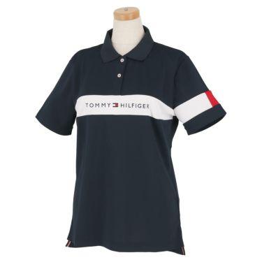 トミー ヒルフィガー ゴルフ レディース 鹿の子 ロゴ刺繍 配色切替 半袖 ポロシャツ THLA105 2021年モデル ネイビー(30)