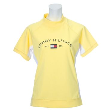 トミー ヒルフィガー ゴルフ レディース ロゴプリント 鹿の子 生地切替 半袖 モックネックシャツ THLA119 2021年モデル イエロー(70)