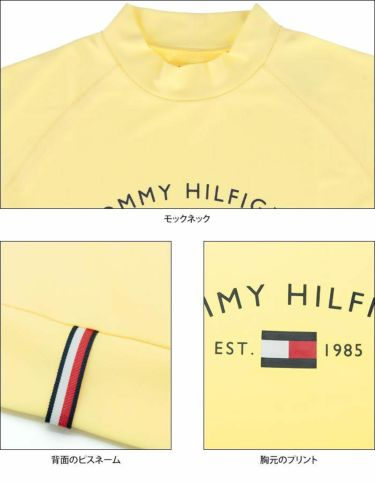 トミー ヒルフィガー ゴルフ レディース ロゴプリント 鹿の子 生地切替 半袖 モックネックシャツ THLA119 2021年モデル 詳細4