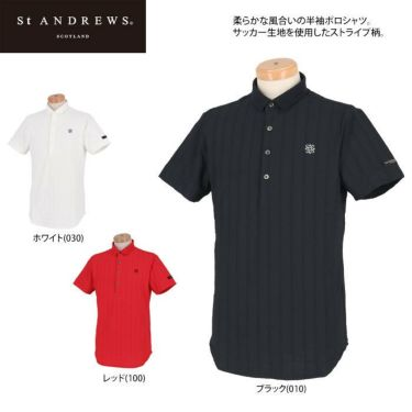 セントアンドリュース St ANDREWS メンズ サッカーストライプ 半袖 ポロシャツ 042-1160555 2021年モデル 詳細2