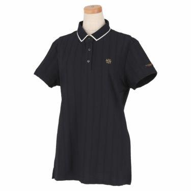 セントアンドリュース St ANDREWS レディース ロゴ刺繍 サッカーストライプ 半袖 ポロシャツ 043-1160556 2021年モデル ブラック(010)