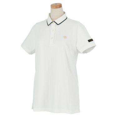 セントアンドリュース St ANDREWS レディース ロゴ刺繍 サッカーストライプ 半袖 ポロシャツ 043-1160556 2021年モデル ホワイト(030)