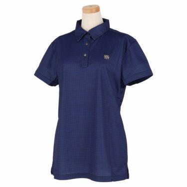 セントアンドリュース St ANDREWS レディース 鹿の子 ロゴ刺繍 千鳥柄プリント 半袖 ポロシャツ 043-1160560 2021年モデル ブルー(110)