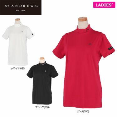セントアンドリュース St ANDREWS レディース ロゴプリント ベア天竺 半袖 ハイネックシャツ 043-1167352 2021年モデル 詳細1
