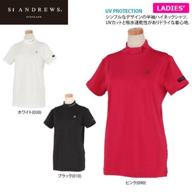セントアンドリュース St ANDREWS レディース ロゴプリント ベア天竺 半袖 ハイネックシャツ 043-1167352 2021年モデル 詳細2