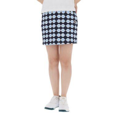アンパスィ and per se レディース 総柄プリント ストレッチ インナーパンツ付き スカート AFS4011F3 2021年モデル ネイビー(30)