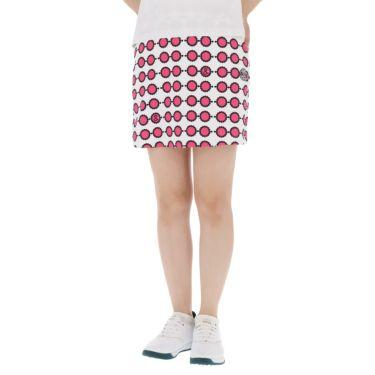 アンパスィ and per se レディース 総柄プリント ストレッチ インナーパンツ付き スカート AFS4011F3 2021年モデル ホワイト(10)