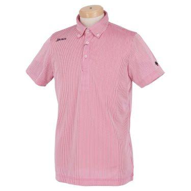 スリクソン SRIXON メンズ ストライプ柄 バッククロス 半袖 ボタンダウン ポロシャツ RGMRJA13 2021年モデル ピンク(PK00)