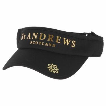 セントアンドリュース St ANDREWS ユニセックス ロゴ箔プリント コットンツイル サンバイザー 042-1987262 010 ブラック 2021年モデル ブラック(010)