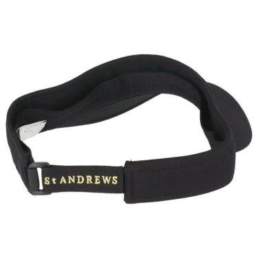 セントアンドリュース St ANDREWS ユニセックス ロゴ箔プリント コットンツイル サンバイザー 042-1987262 010 ブラック 2021年モデル 詳細1