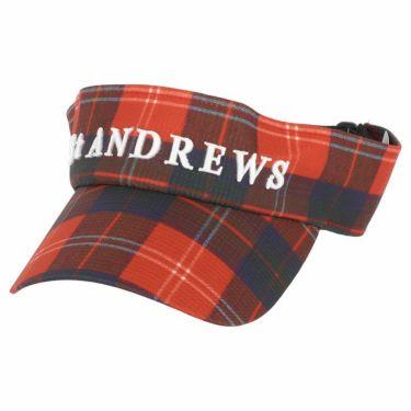 セントアンドリュース St ANDREWS ユニセックス 立体ロゴ刺繍 チェック柄 サンバイザー 042-1187555 100 レッド 2021年モデル レッド(100)