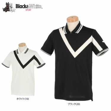【ssプロパー】△ブラック&ホワイト メンズ ホワイトライン ウール混 半袖 ハーフジップ ポロシャツ BGS9401XO ゴルフウェア [2021年春夏モデル] 詳細1