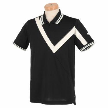 【ssプロパー】△ブラック&ホワイト メンズ ホワイトライン ウール混 半袖 ハーフジップ ポロシャツ BGS9401XO ゴルフウェア [2021年春夏モデル] ブラック(20)
