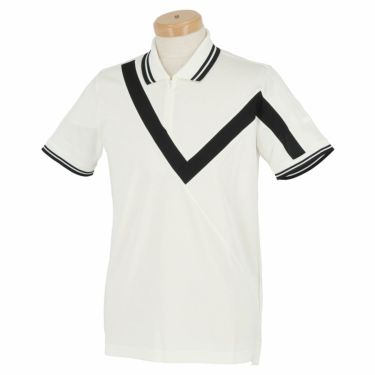 【ssプロパー】△ブラック&ホワイト メンズ ホワイトライン ウール混 半袖 ハーフジップ ポロシャツ BGS9401XO ゴルフウェア [2021年春夏モデル] ホワイト(10)
