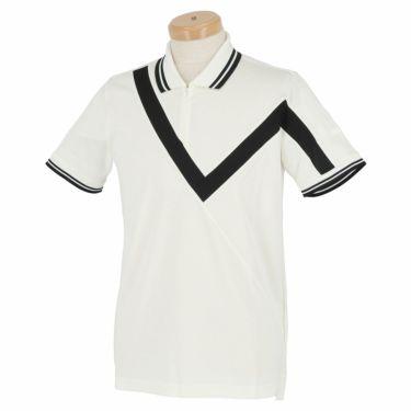ブラック&ホワイト Black&White ホワイトライン メンズ ウール混 半袖 ハーフジップ ポロシャツ BGS9401XO 2021年モデル ホワイト(10)