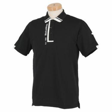 【ssプロパー】△ブラック&ホワイト メンズ ホワイトライン ロゴプリント 半袖 ポロシャツ BGS9711XQ ゴルフウェア [2021年春夏モデル] ブラック(20)