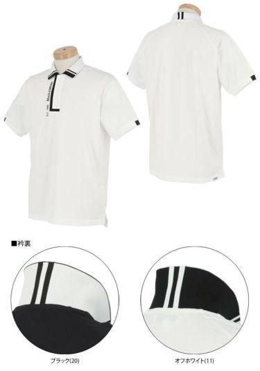 【ssプロパー】△ブラック&ホワイト メンズ ホワイトライン ロゴプリント 半袖 ポロシャツ BGS9711XQ ゴルフウェア [2021年春夏モデル] 詳細3