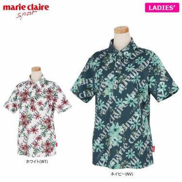 マリクレール marie claire レディース ロゴ刺繍 総柄 フラワープリント 半袖 ポロシャツ 711-604 2021年モデル 詳細1