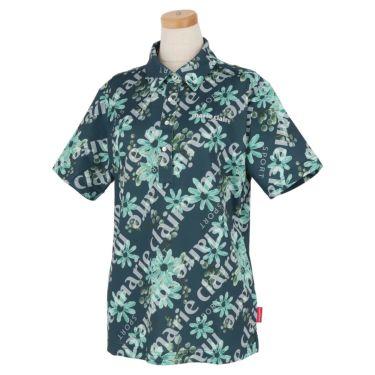 マリクレール marie claire レディース ロゴ刺繍 総柄 フラワープリント 半袖 ポロシャツ 711-604 2021年モデル ネイビー(NV)
